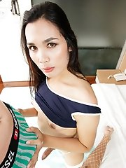 Ladyboy Uma - Blue Blouse Versatile Raw Sex