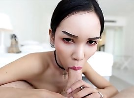 21yo Busty Thai Shemale Sucks Off Tourists White Cock And Balls
