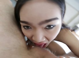 21 Year Old Busty Thai Shemale Sucks Off White Tourists Cock To Lick Up His Cum