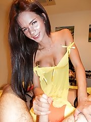 Yellow Babydoll Big Pop Shot Bareback