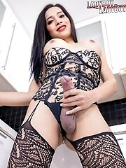 Sammy is very lovely asian tgirl and too shy, but not shy at all when she takes out her big cock and play with it.