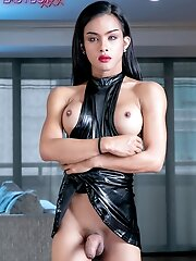 Ladyboy Emma may be pretty but she isn't shy and innocent. With her whip and boots it's time to get this party started.
